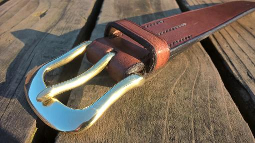 Douglas handmade leather belt with swelled west end brass belt buckle