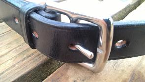 York handmade leather belt with stainless steel girth buckle