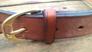 Minster handmade leather belt with imitation stirrup buckle