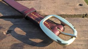 Rochester handmade leather belt with swage headcollar buckle