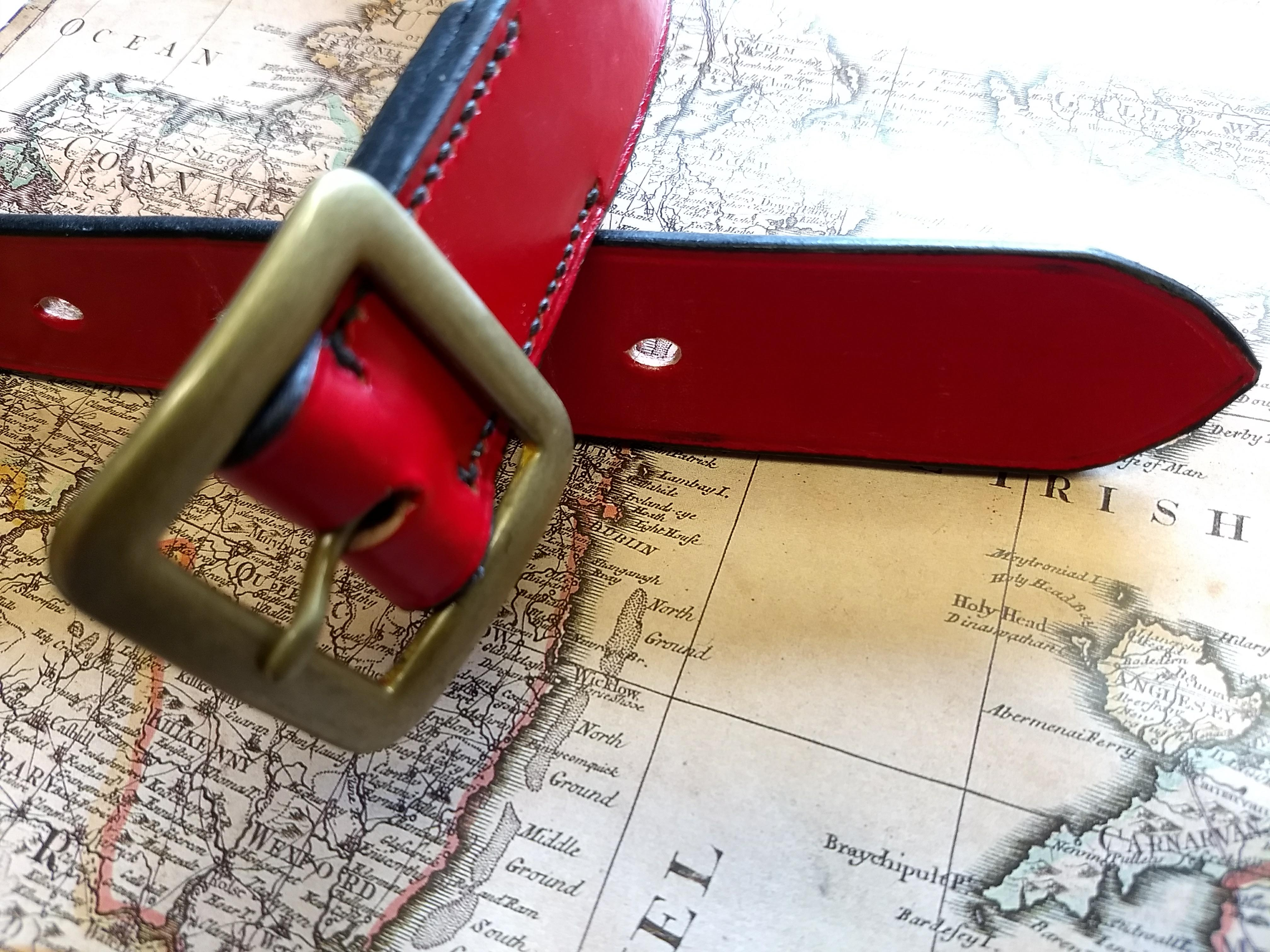 Hand Made English Bridle Leather Belt Brass or Stainless Buckle